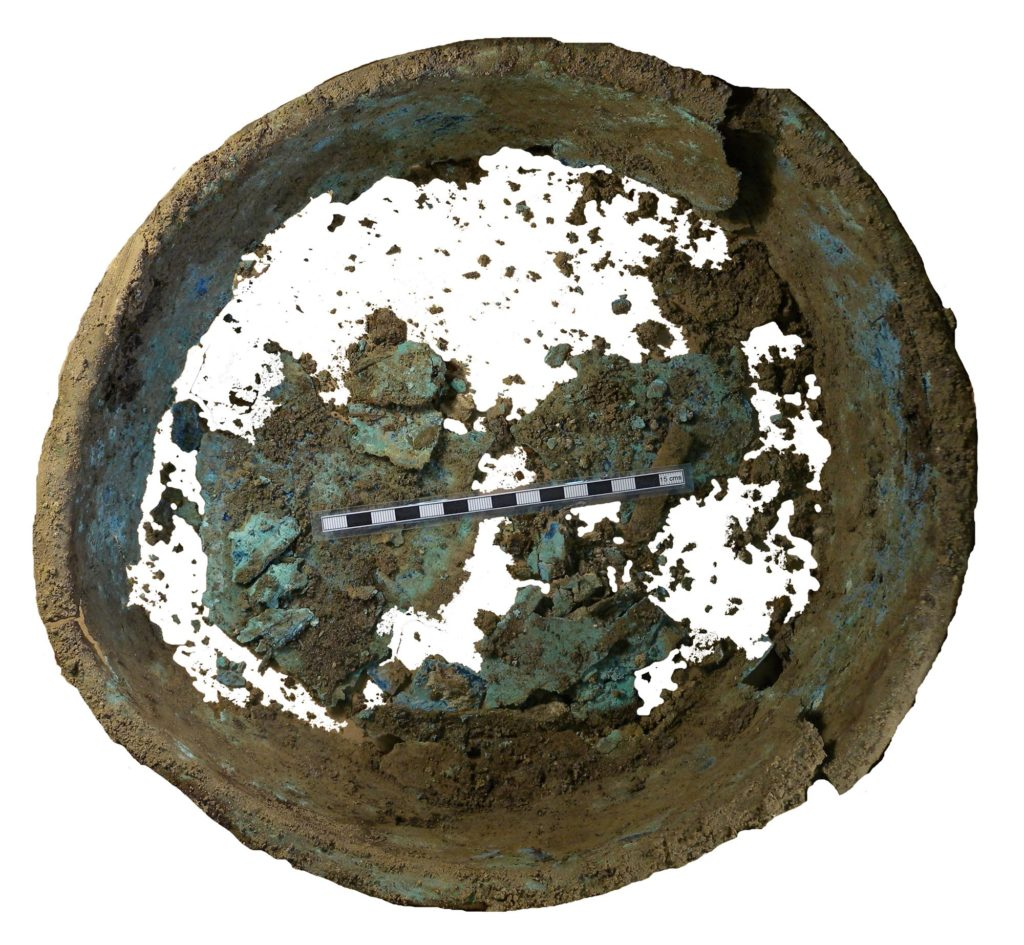 a photo of a corroded bowl