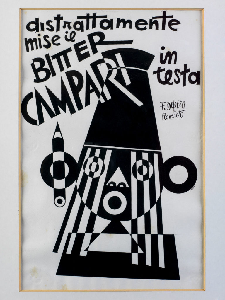 Illustrated advert for Campari showing black and white abstract design of face