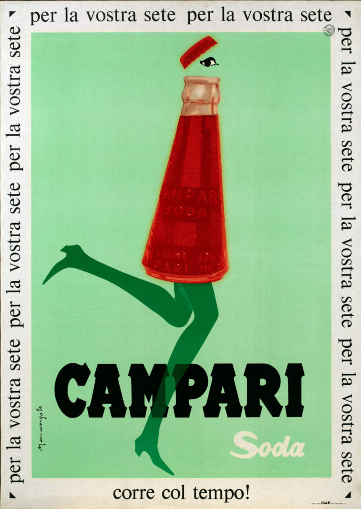 Illustrated advert for Campari showing conical bottle of red liquid with legs and an eye