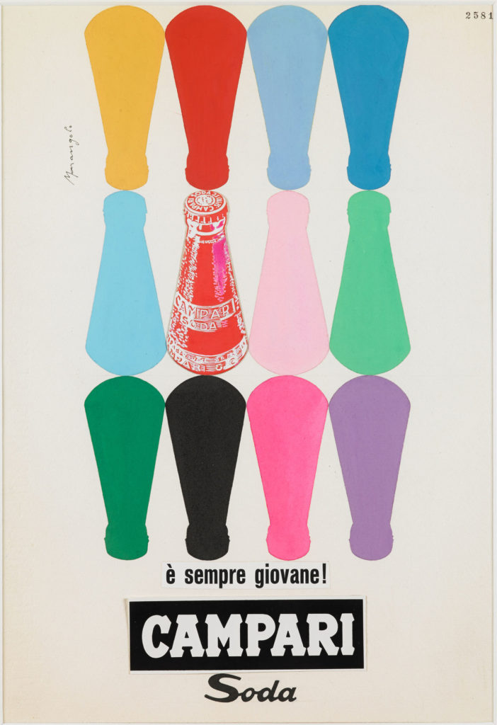 Illustrated advert for Campari showing colourful outlines of conical bottles