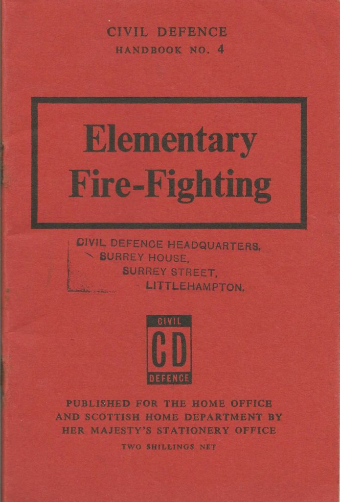 a photo of a terracotta coloured pamphlet with the words elementary fire fighting on the cover