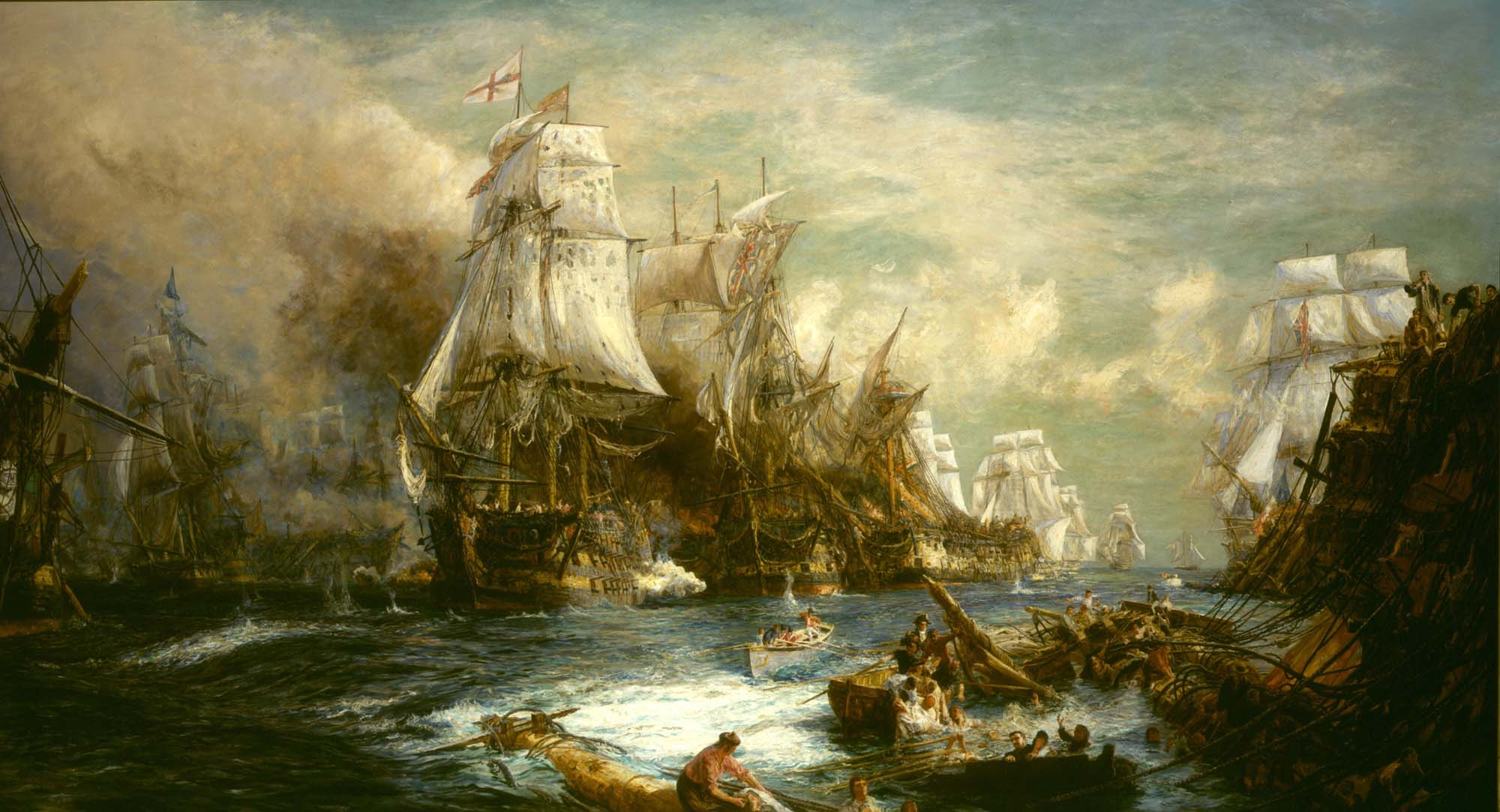 a dramatic painting showing sialing ships at battle with men in the wreckage of the water in the foreground