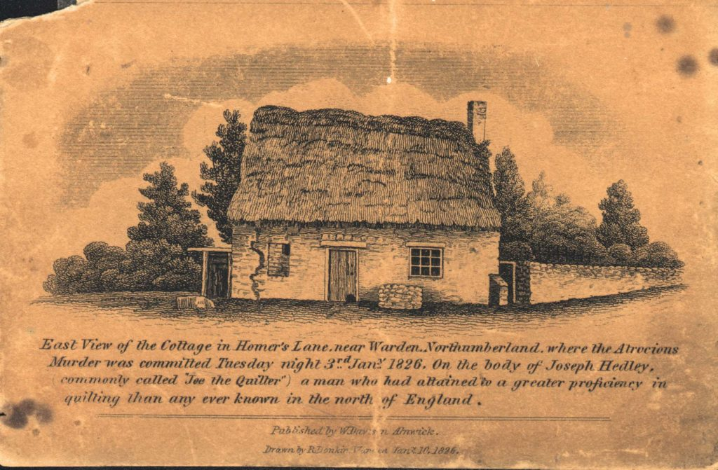 an old postcard of a thatched cottage with text about Joe the quilter who was murdered there