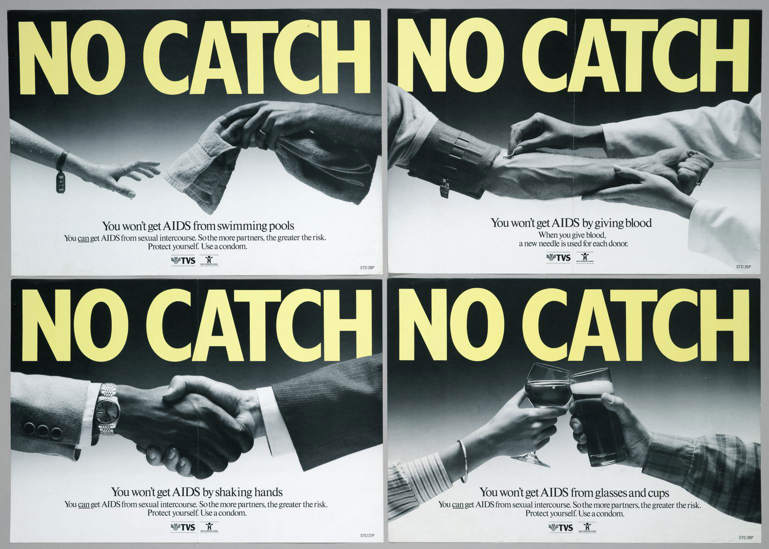 image showing four posters, each with the text NO CATCH. they show hands engagin in everyday activities: shaking hands, swimming, holding glasses and giving blood