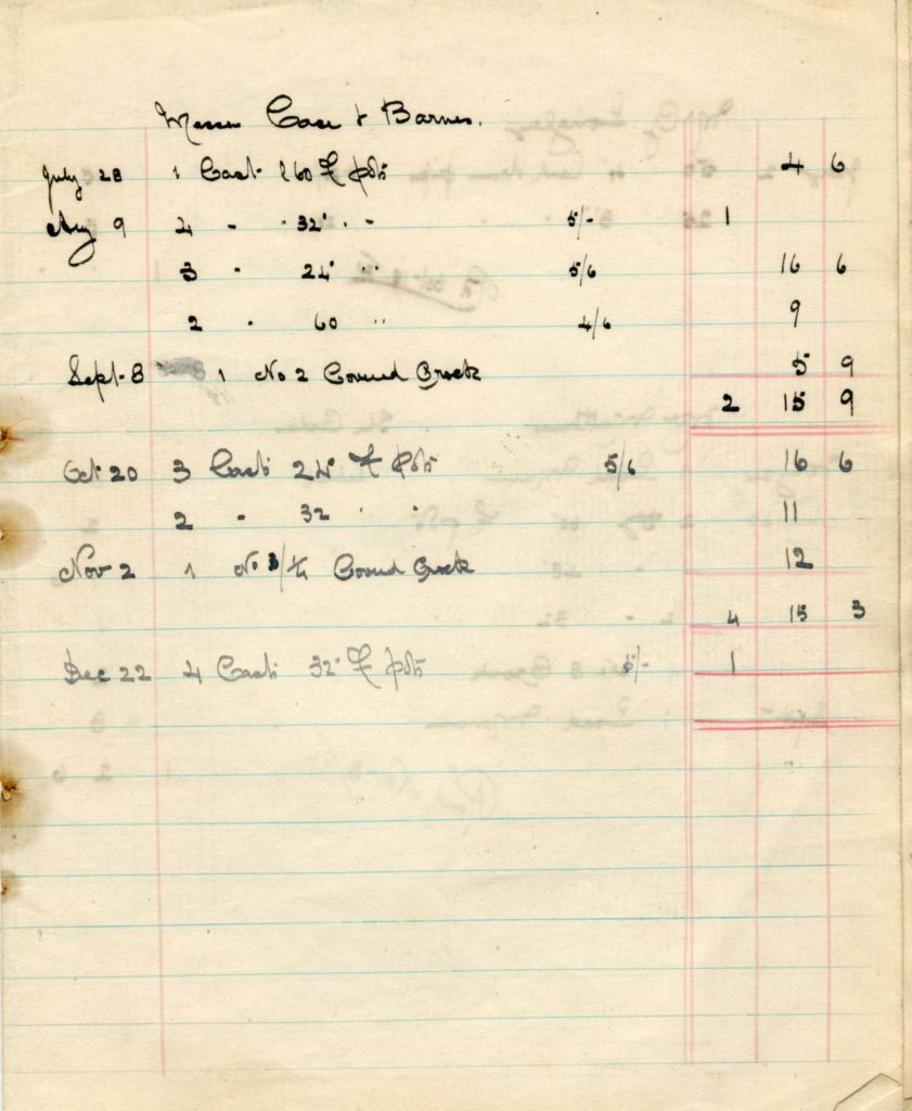 a page from an old ledger book