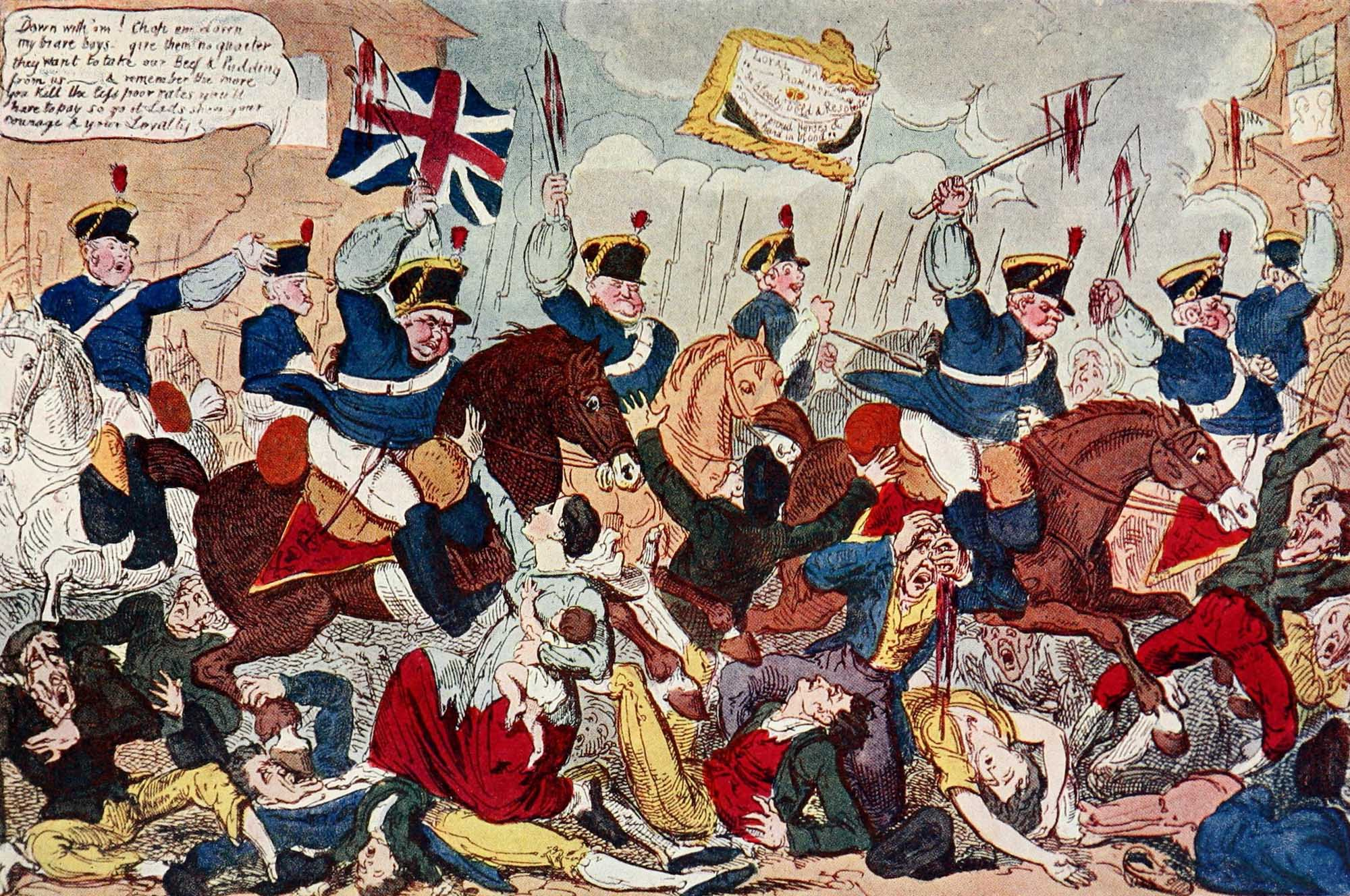 a caricature coloured cartoon showing men on horseback ploughing into a crowd of people