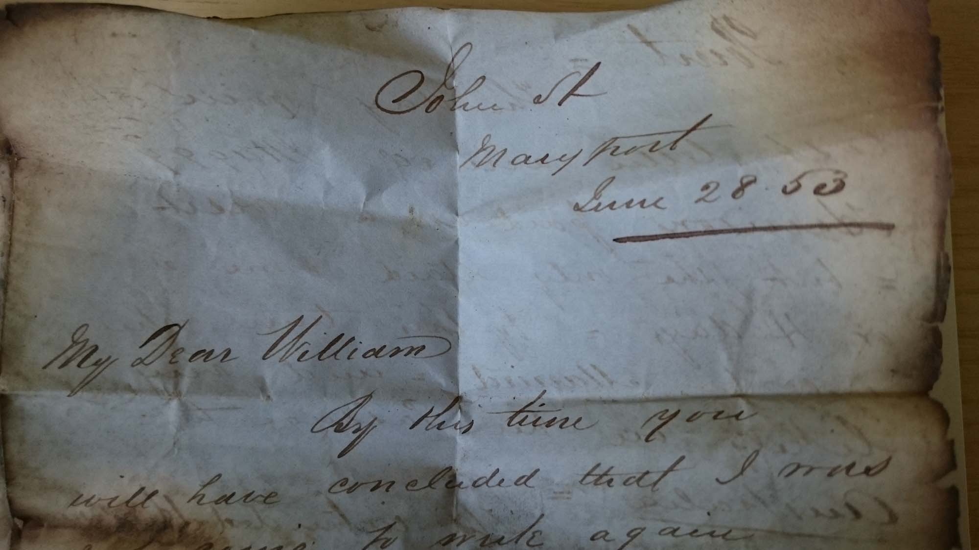 a detail of a letter dated June 28 (18)53