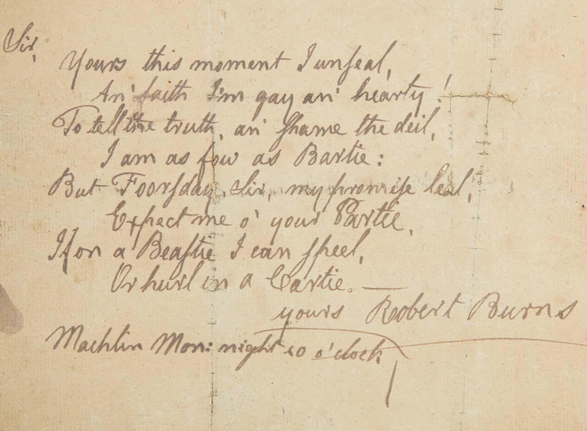 a photo of a handwritten verse by Robert Burns