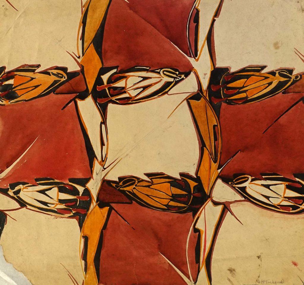 a bred and orange geometric design