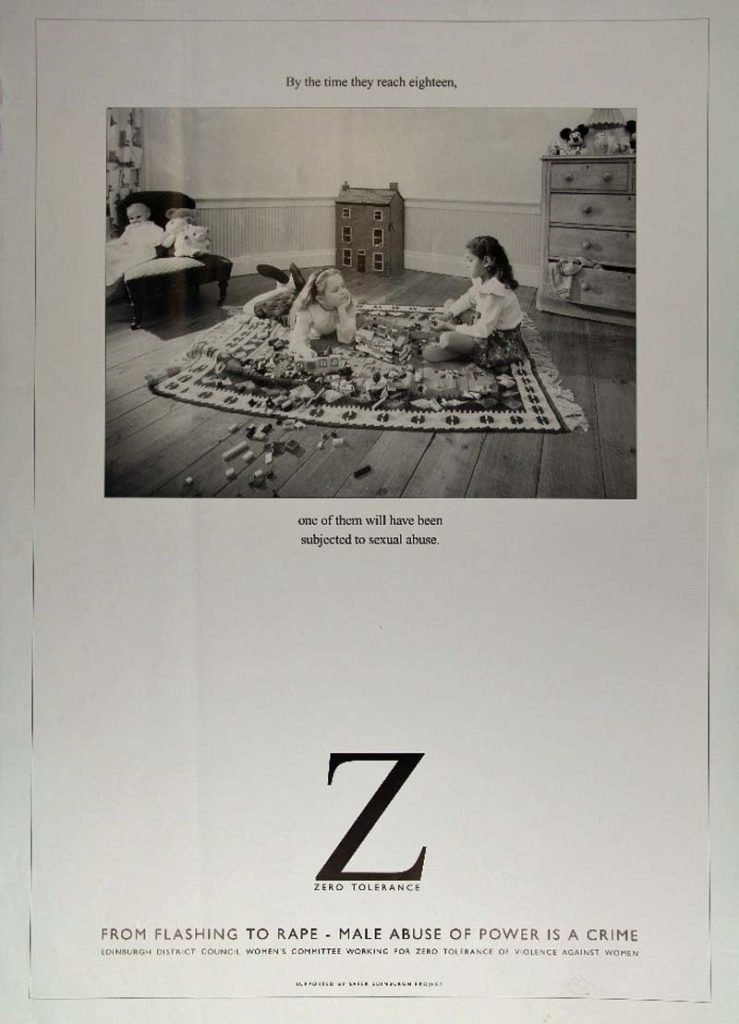 a poster featuring two girls on a carpet playing with toys with the words by the time they reach eighteen one of them will have been subject to sexual abuse