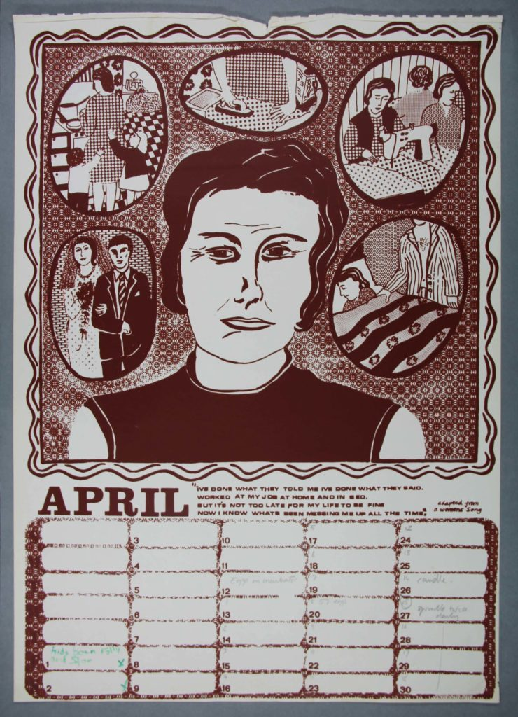 a calendar page for April with a face of a woman surrounding by small pictures depicting her life as a wife and mother