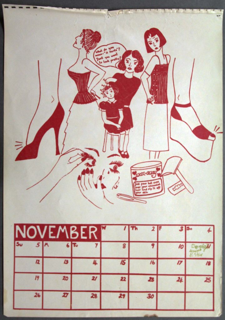 a calendar page for April with a drawing of women dressing in clothes