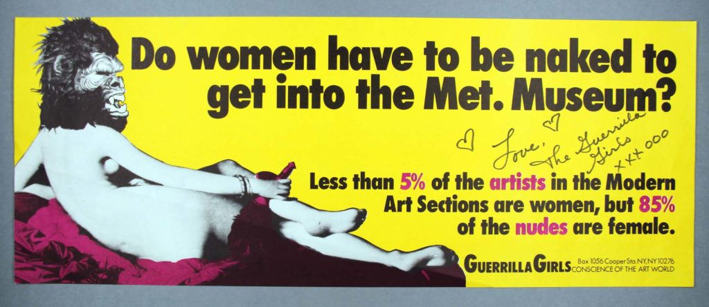 a banner billboard style advert showing nude with a guerrilla's head superimposed over the woman's