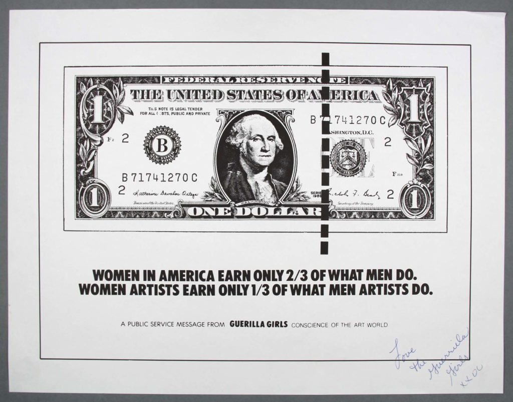 a poster with a dollar bill and writing beneath
