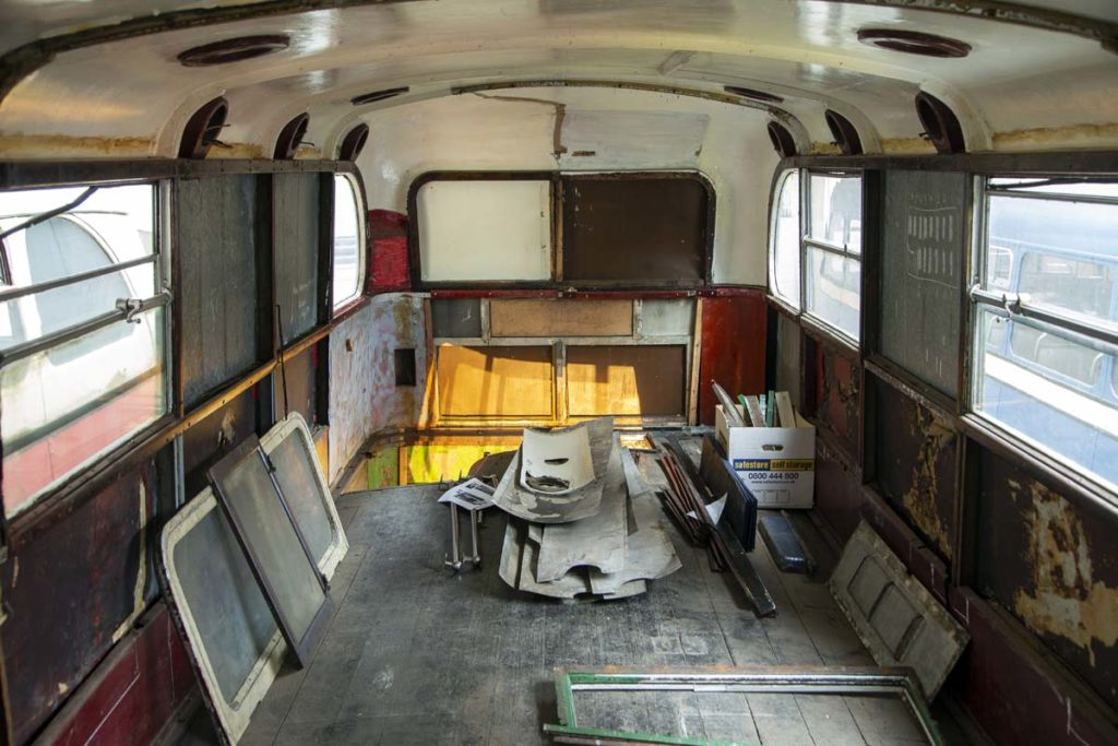 a photo of the gutted top deck of a double decker bus