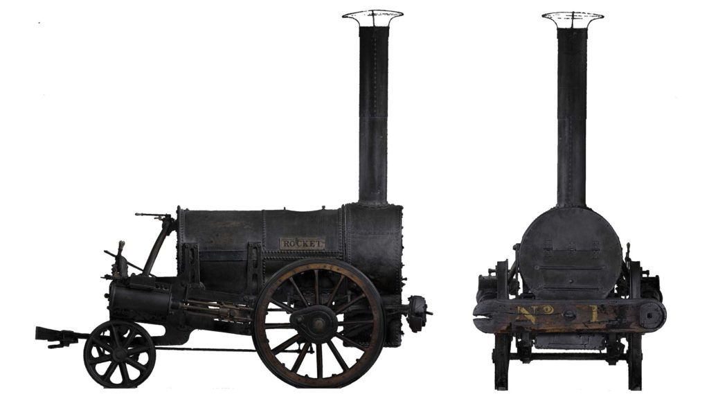 two views of the Rocket steam engine
