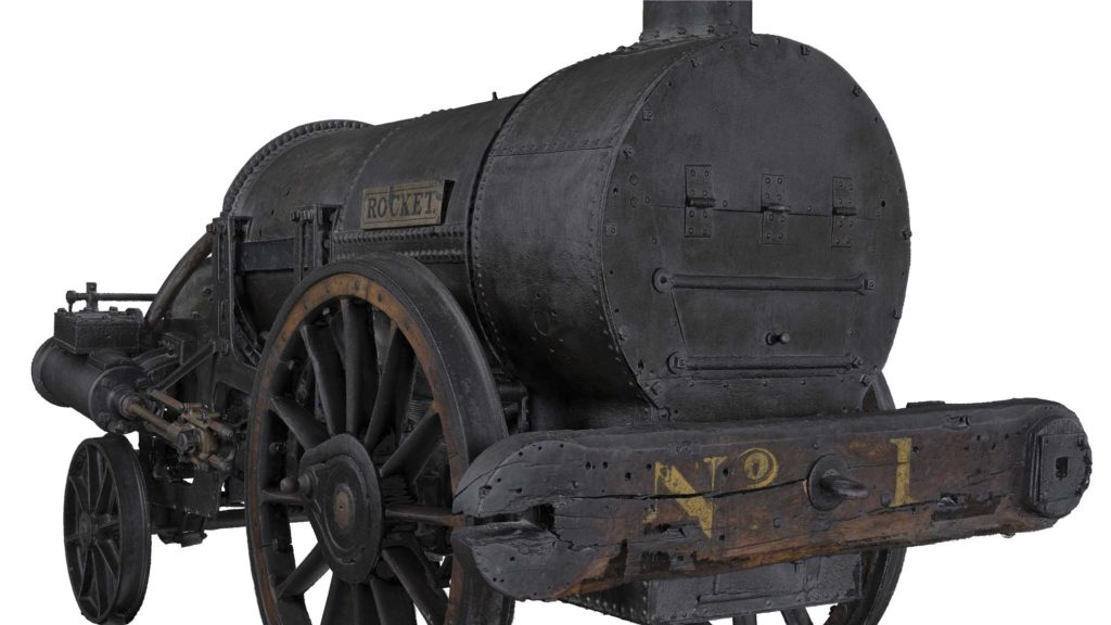 a still from a 3D photo of a steam engine