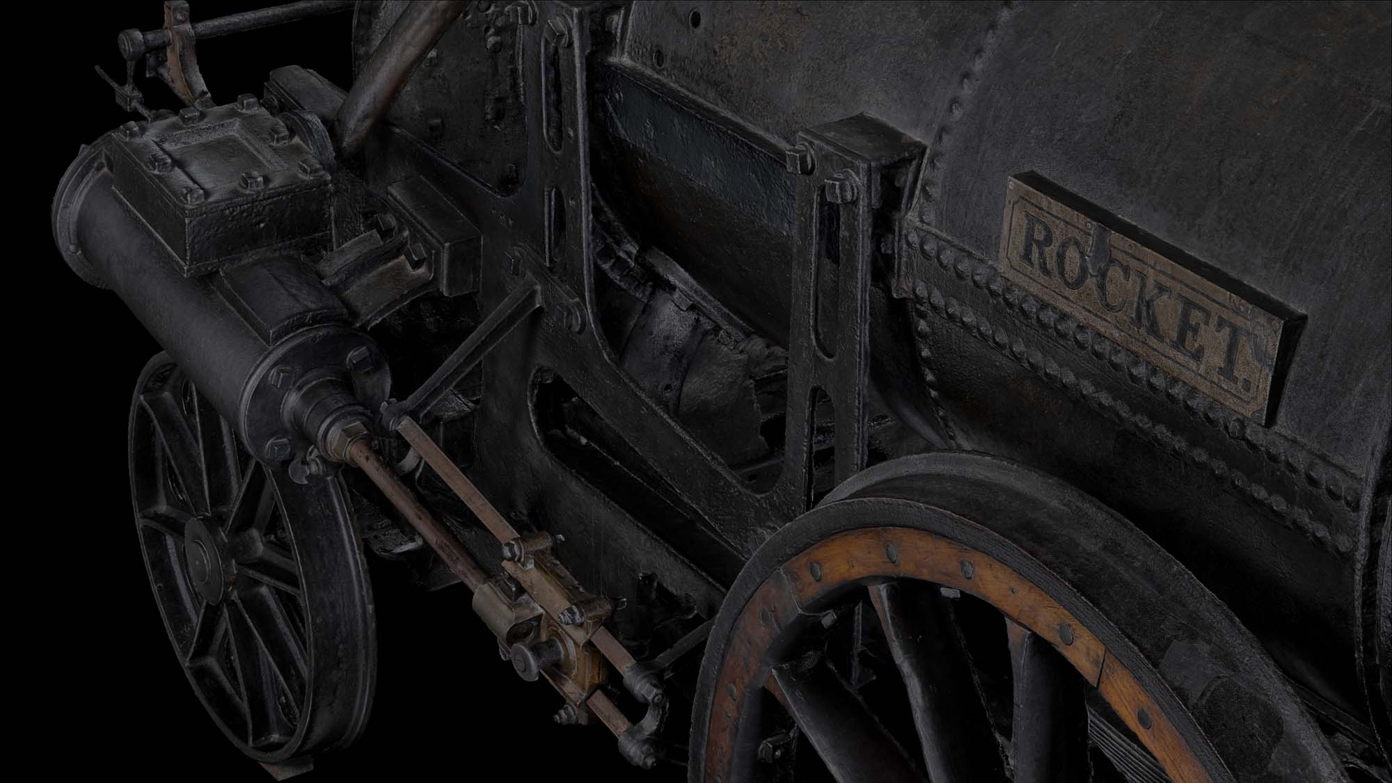 a detail of a 3D reconstruction of Stephenson's Rocket showing the Rocket nameplate
