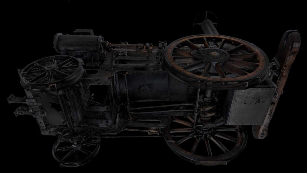 a detailed 3D photo of a steam engine footplate