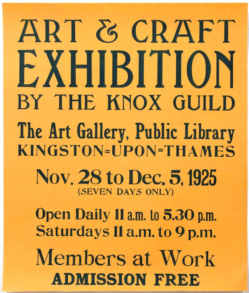 a yellow poster with black writing proclaiming Art and Craft exhibition by the Knox Guild