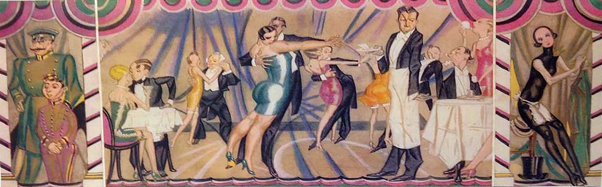 a long frieze drawing showing 1920s attired people dancing and carousing at cabaret tables
