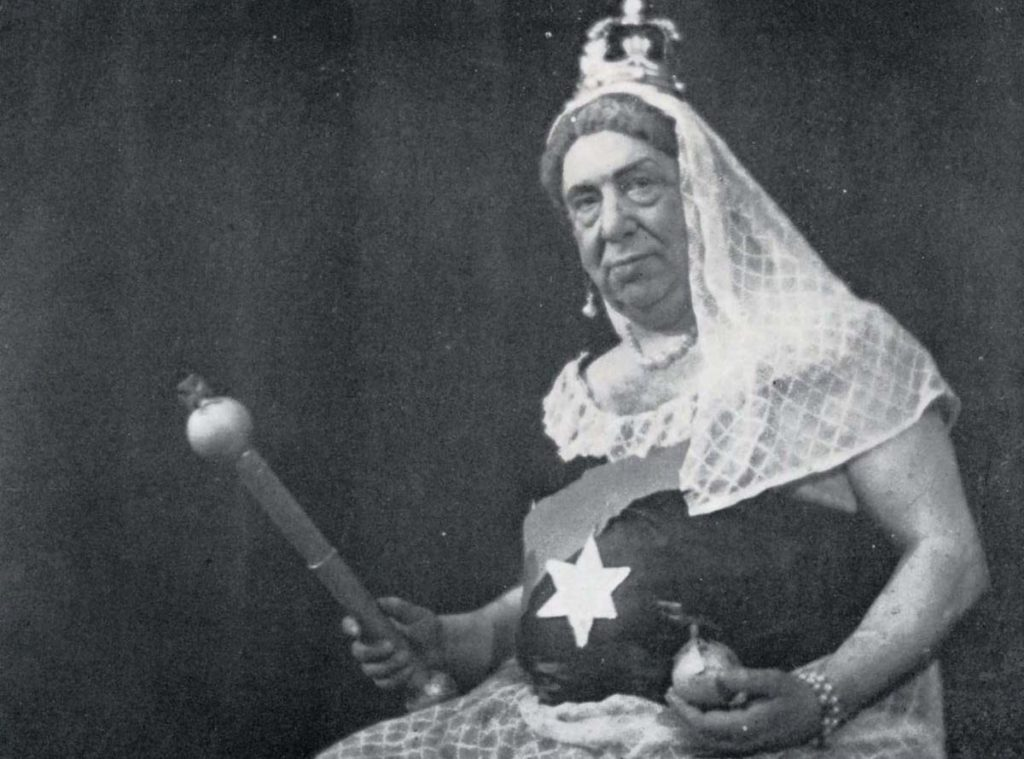 a photo of a man dressed as Queen Victoria