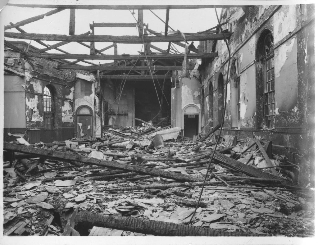 a photo of a bombed hall