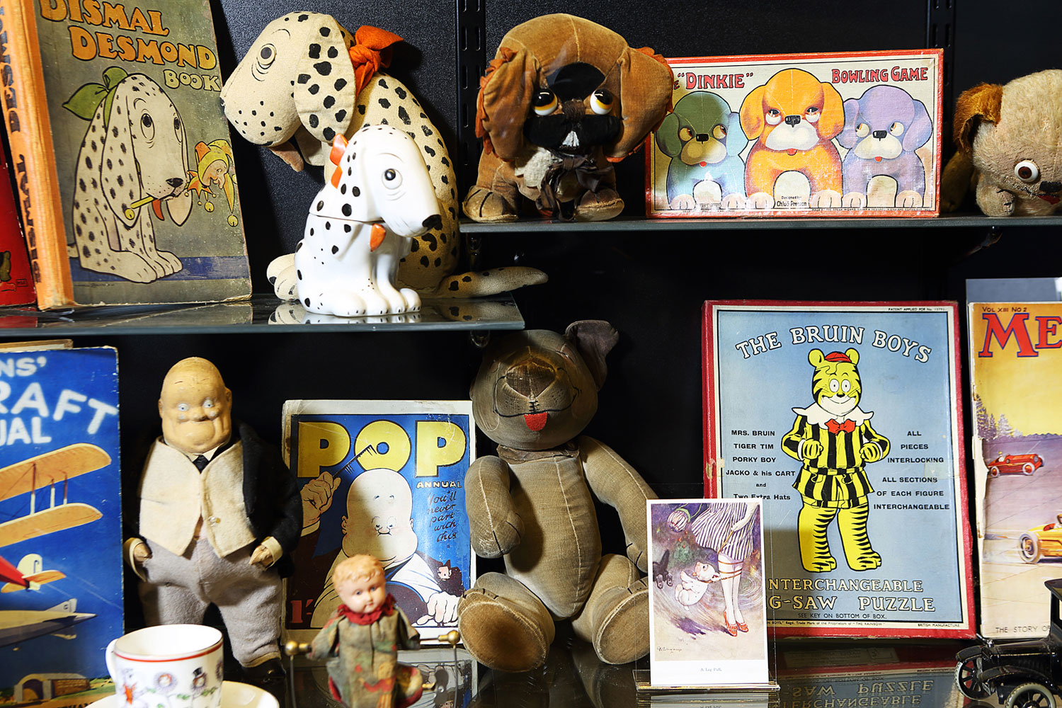 photogrpah of toys and packaging in a museum display