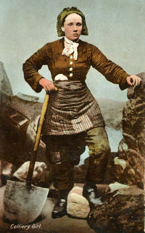 a colourised photo of a womna in rough working clothes leaning on a shovel