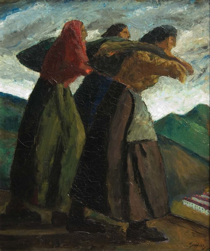 a painting of three women carrying coal on their backs in sacks