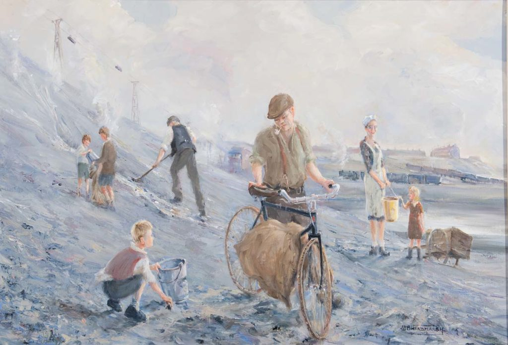 a painting of people picking coal from a slag heap