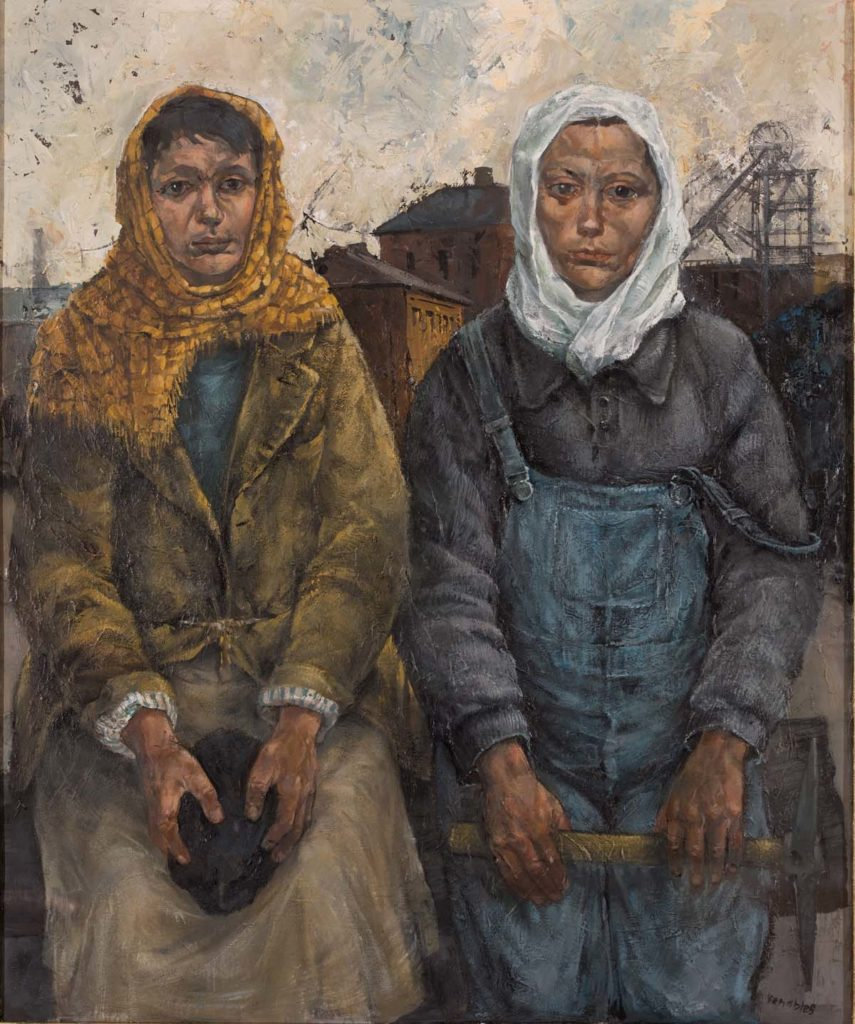 a painting of two women in working clothes and headscarves