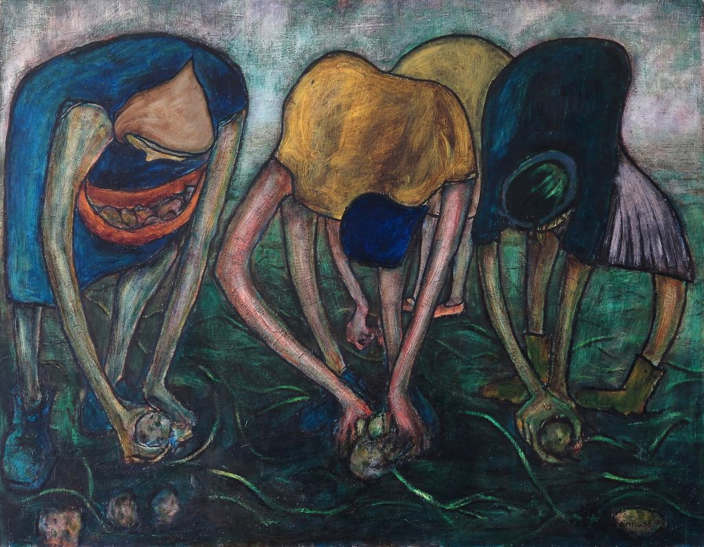a painting of a group of four women bent over picking potatoes