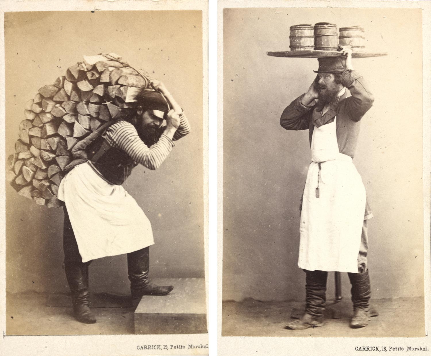 diptych image showing two sepia toned photographs of a man. On the left he is carrying a sack of logs and on the right he is carrying a tray of small barrels above his head