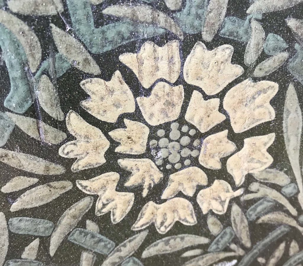 a photo of a flower detail on printed lino