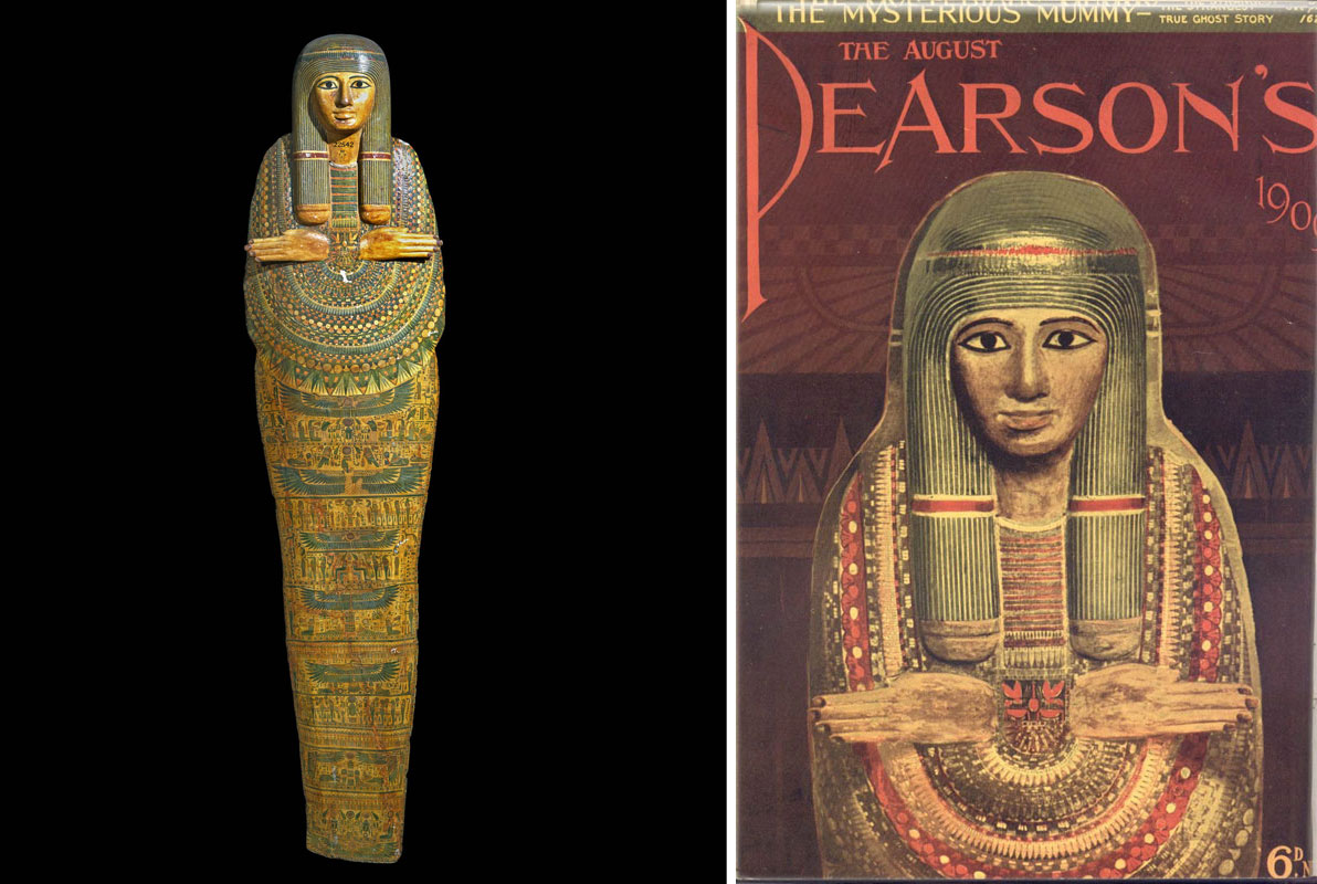 two images - the left side is a photograph of a mummy board with hands protruding from chest and colourful painted decorations; the image on the right is a illustrated magazine cover showing the same mummy board