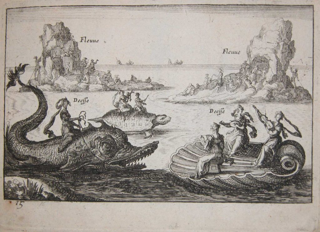 a print showing people on fantastical floats resembling sea creatures on the river