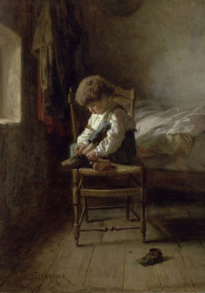 a painting of a small boy tying a shoelace on a chair in a bedroom