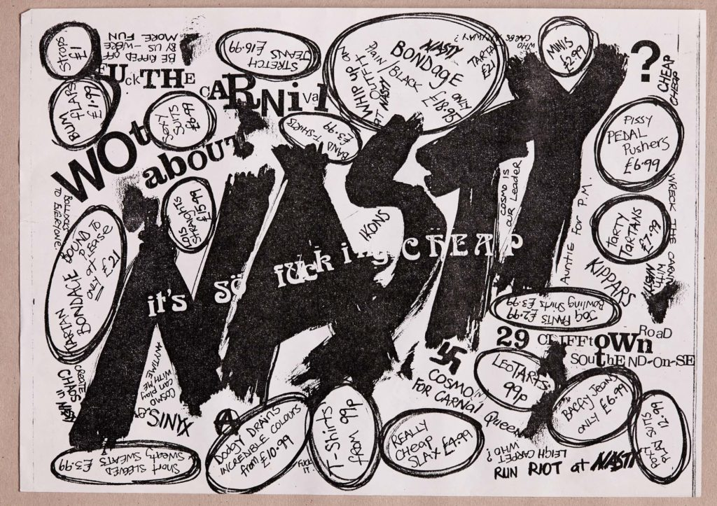a flyer with the handwritten words nasty emblazoned across it with accompanying speech bubbles advertising different items of clothing and their price