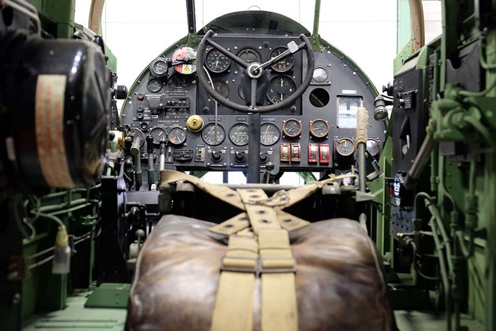 a photo of the cockpit control panel of the Hampden Bomber