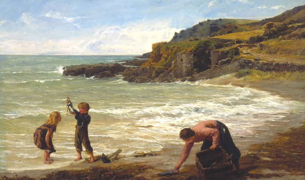 a painting of woman collecting something from a beach as two children hold aloft a bottle that have found on the shoreline