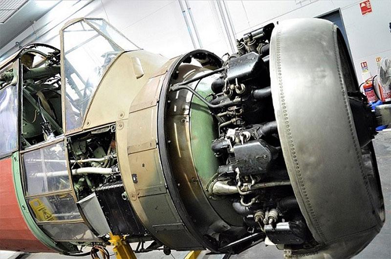 a photo of a single engined aeroplane engine