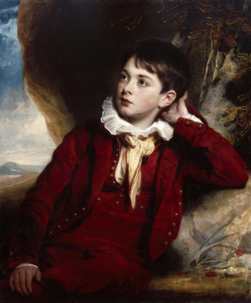 a formal portrait of a young boy in a red velvet suit