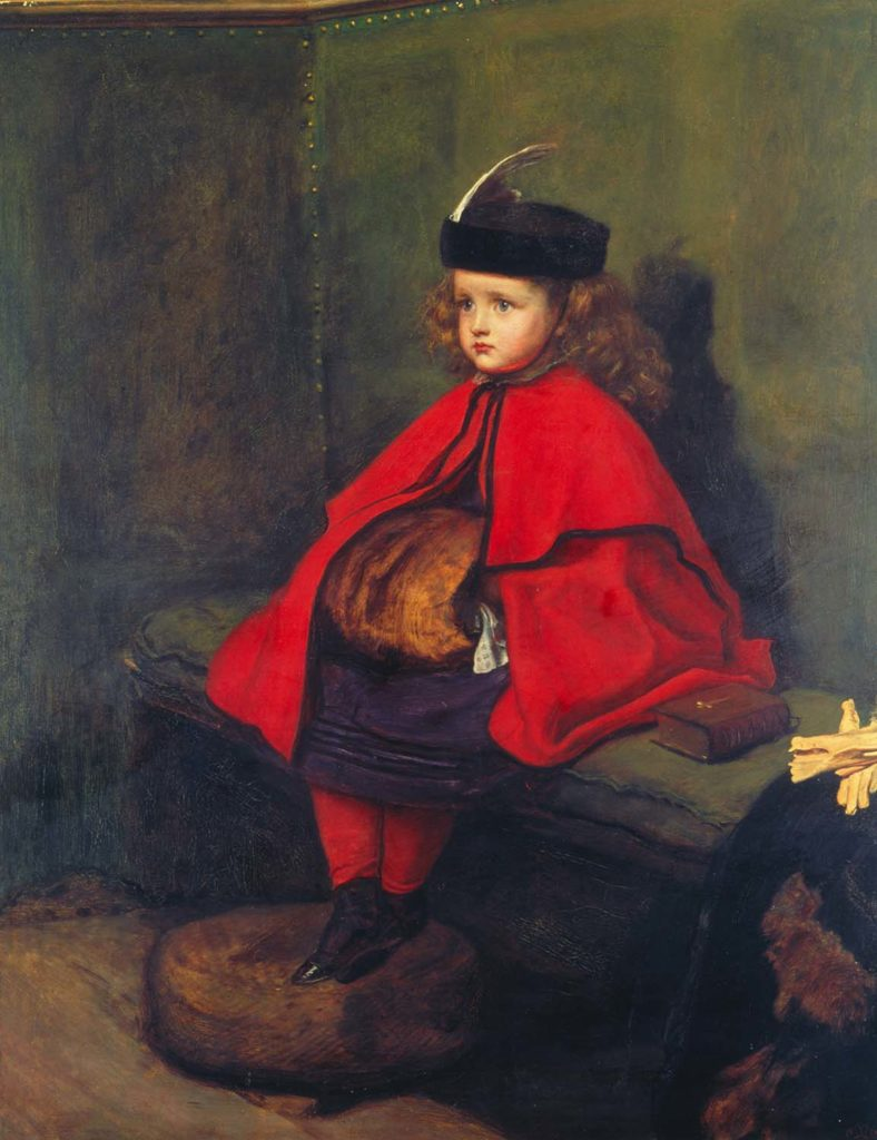 a painting of a little girls in a red cape sitting alertly on a pew