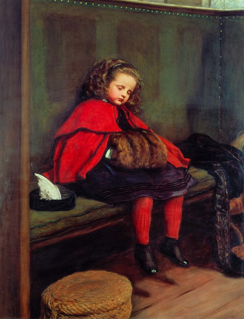 a painting of a little girl in a red cloak asleep on a pew