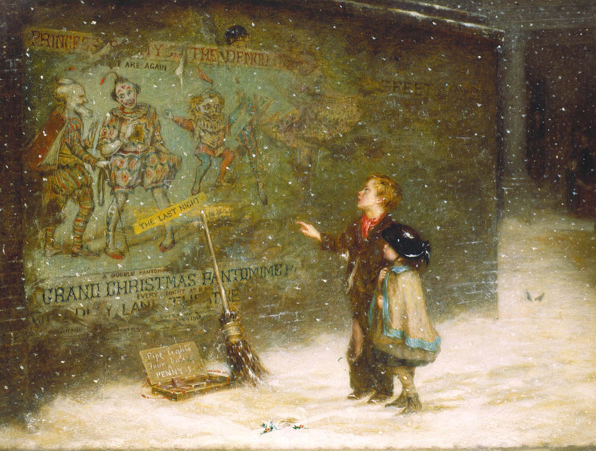 a painting of two young children on a swnowy deserted street staring wistfully at a poster for a pantomime