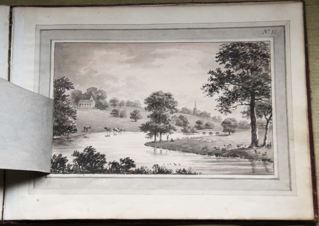 a black and white sketch of a landscape with lake and trees