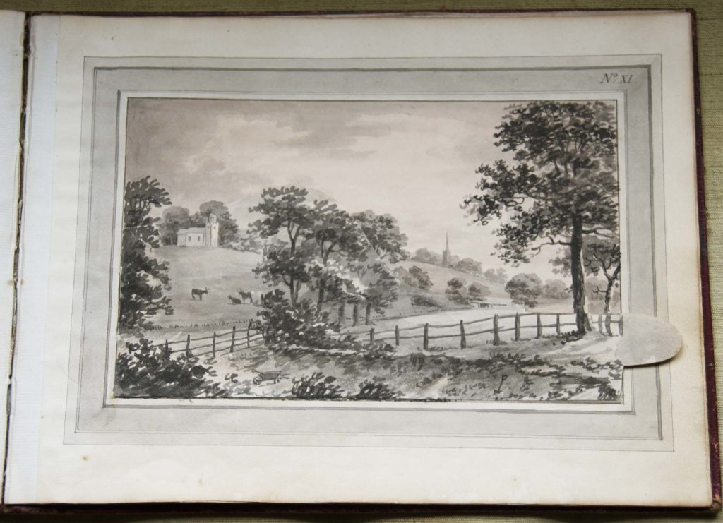 a black and white sketch of a landscape with gently undulating hills and trees