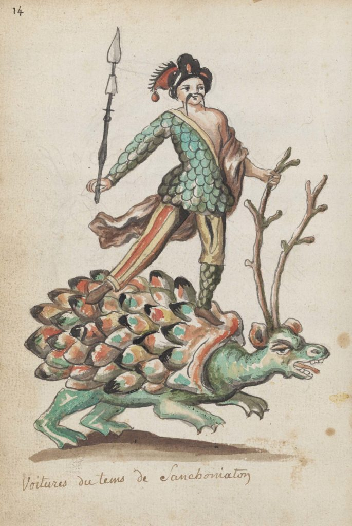 a drawing of a figure standing on the back of a creature with antlers and a tortoise like shell