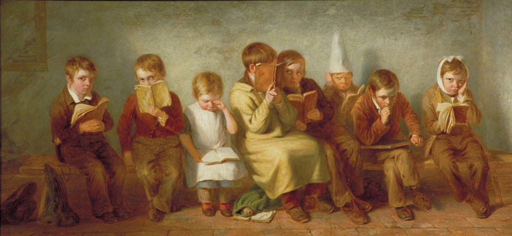 a painting of a group of grumpy looking young schoolchildren sitting together on a bench